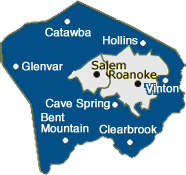 Roanoke County, Virginia Map